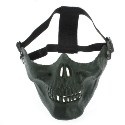 2 Packs Milit Skull Mask Half Protection Facial Masks Color:green zombie skull skeleton half face masks for movie prop cosplay halloween airsoft paintball protective masks authorized chief m05