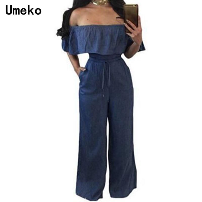 Umeko Jumpsuit Summer Women Slash Neck Off Shoulder Short Sleeve High Waist Solid Color Playsuit Office Lady Casual Overalls