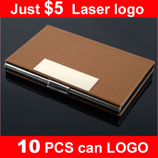 Wholesale NEW  leather & stainles steel business card Men card case,Women business name card holders  promotion gifts LOGO