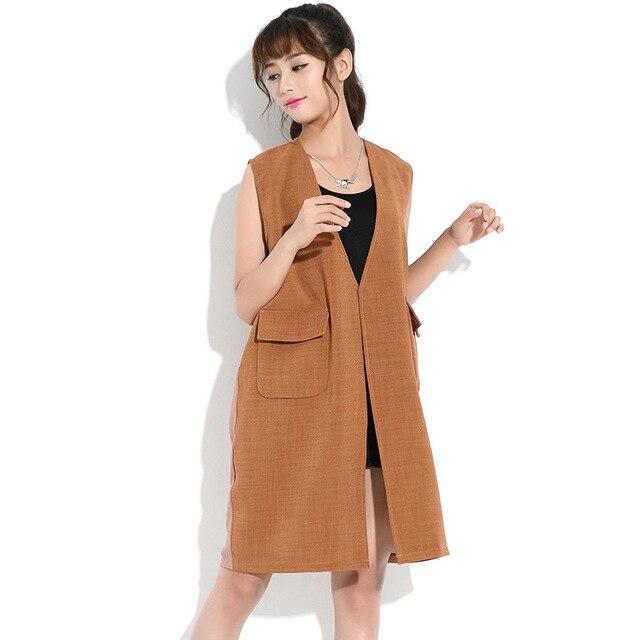 New Plus Size Long Vest Women Solid Khaki Black Casual Loose Cardigans Autumn Cotton Overcoat with Pockets Fashion Korean Style