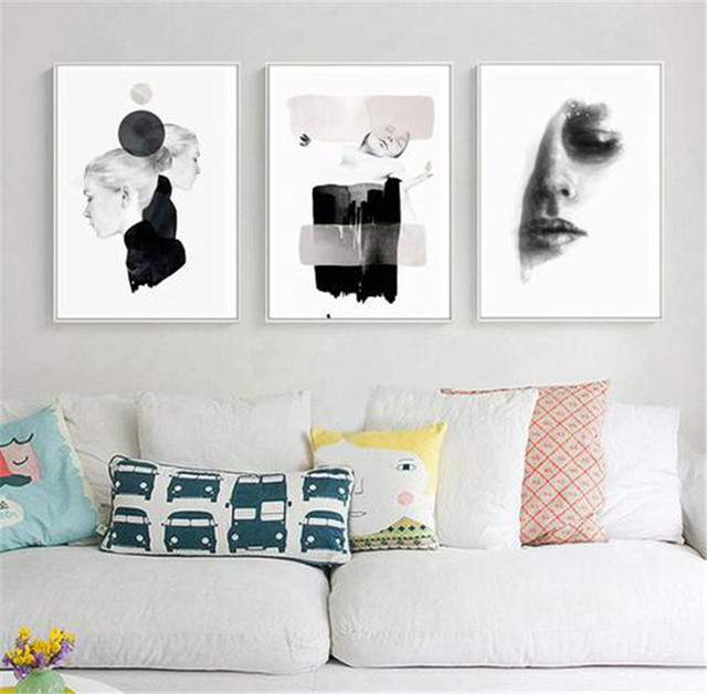 3 Pieces Abstract Fashion Lady Print Picture Wall Art Pictures no Frame Canvas Painting Women Poster for Living Room home decor