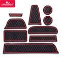 Gate slot pad For Lada GRANTA Non-slip Door groove mat  mats Auto Accessories Red/Blue/luminous 9PCS