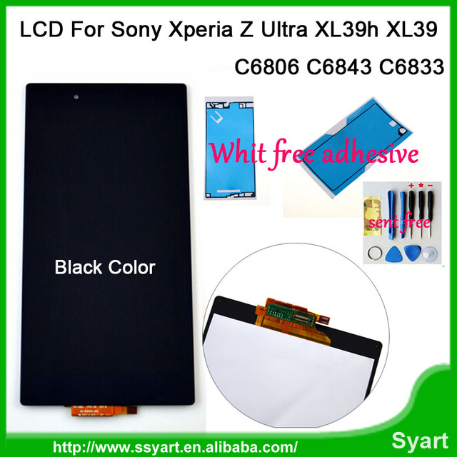 Para sony xperia z ultra xl39h xl39 c6806 c6843 c6833 lcd screen display touch com digitador assembléia + ferramentas com 3 m adesiva