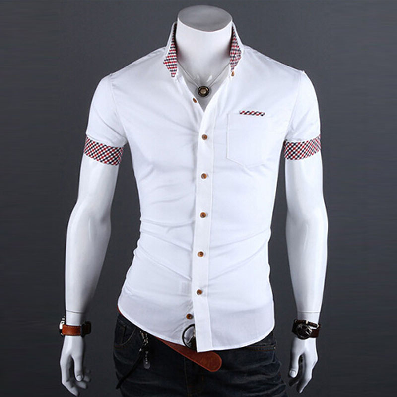 2018 Summer Mens Plaid Patchwork Social Shirt Clothes Men Casual Slim Fit Short Sleeve Shirts Camisa Masculina 13M0194