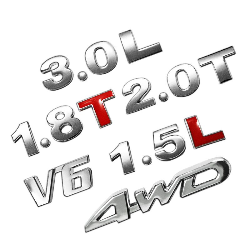 25mm 3D Car Metal Chrome 4WD Sports Displacement Emblem Badge Sticker 2.0 T 3.0 T Turbo Engine Rear Trunk Decals Auto Styling
