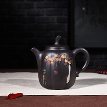 Yixing purple clay pot genuine hand-made raw ore black cinnamon mud Black Diamond high pumpkin pot Kungfu Teapot Set(China)