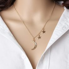 New Fashion Jewelry Emas Crescent Moon Star Pendant Kalung Liontin Kalung Panjang Untuk wanita 4CND154(China)