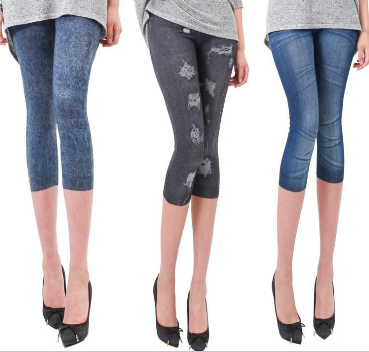 Jeans-like Leggings Women Multi Patterns Stretchy Skinny 3/4 Mid-Calf Length Leggings Summer Cotton Knitted Elastic Waist B92893