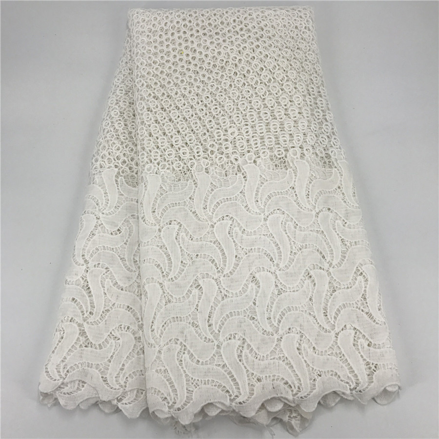 5 Yards Nigerian Lace Fabrics For Wedding Dress White African Cord Lace Fabrics High Quality Guipure