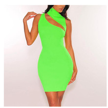 Fashion 2019 Summer Women Sleeveless Sexy Bodycon Dress Bandage Club Party  Hollow Out Mini