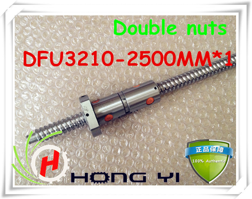 32mm linear rolled 3210 lead ballscrew ballnut set 1pcs DFU3210 ball screw L 2500mm 1pcs double
