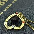 Gravado Birthstone Colar de Coração Colar De Ouro Personalizado Crianças Nomes Da Família em Seu Coração Jóias para A Mãe