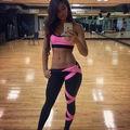 Mulheres Sexy Sutiã Colete Calças Leggings Roupas de Treino de Fitness