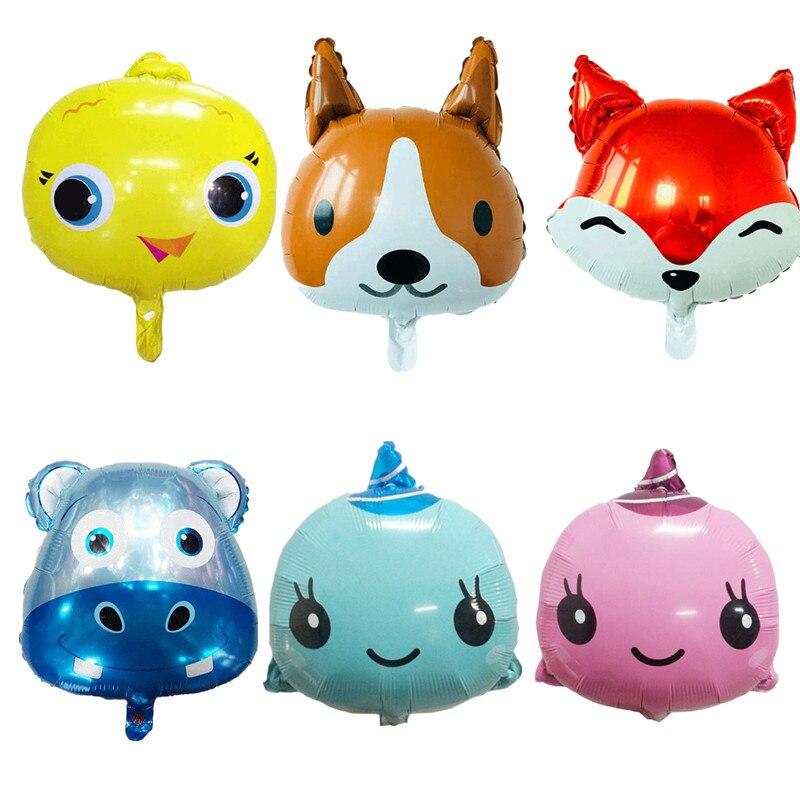 10pcs Animals Head Foil Balloons Fox Rabbit head Animal Theme Party decorations Birthday Party Decorations kids toys wholesale