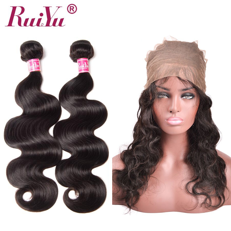 360 Lace Frontal Closure With Bundle Body Wave Brazilian Human Hair Weave Bundles With Closure Pre Plucked Non Remy RUIYU Hair