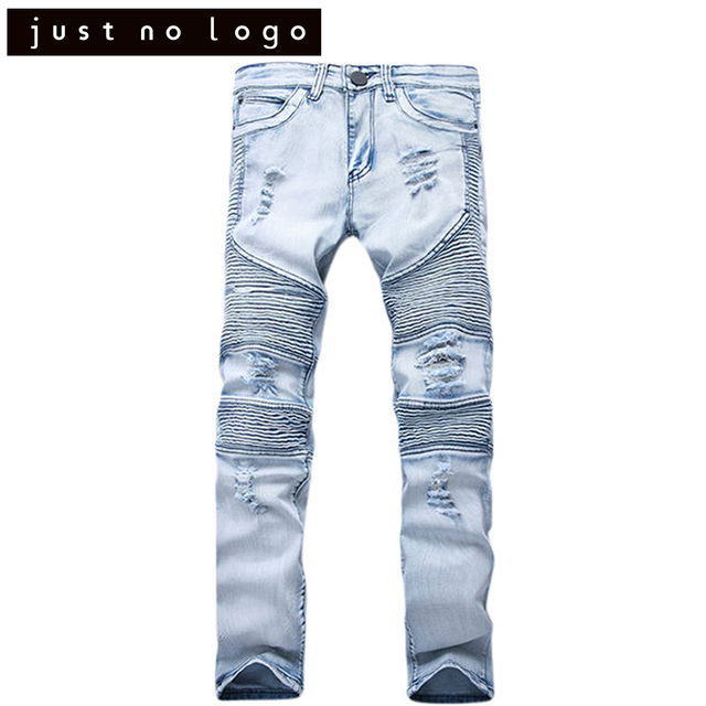 070b08f8 Mens Stretchy Tapered Jeans Destroyed Ripped Biker Jeans Torned Trousers Slim  Fit Skinny Straight Denim Distressed Pants