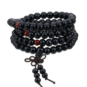 Image 2 - 1Pcs 8mm Natural Sandalwood Buddhist Buddha Meditation Wood Prayer Bead Mala Bracelet Bangles Women Men Jewelry 108 Beads Bijoux