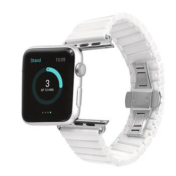 Raum keramik uhrenarmband für apple watch band strap link armband 38mm 42mm Schwarz Weiß mit Adapter für iwatch Link armband