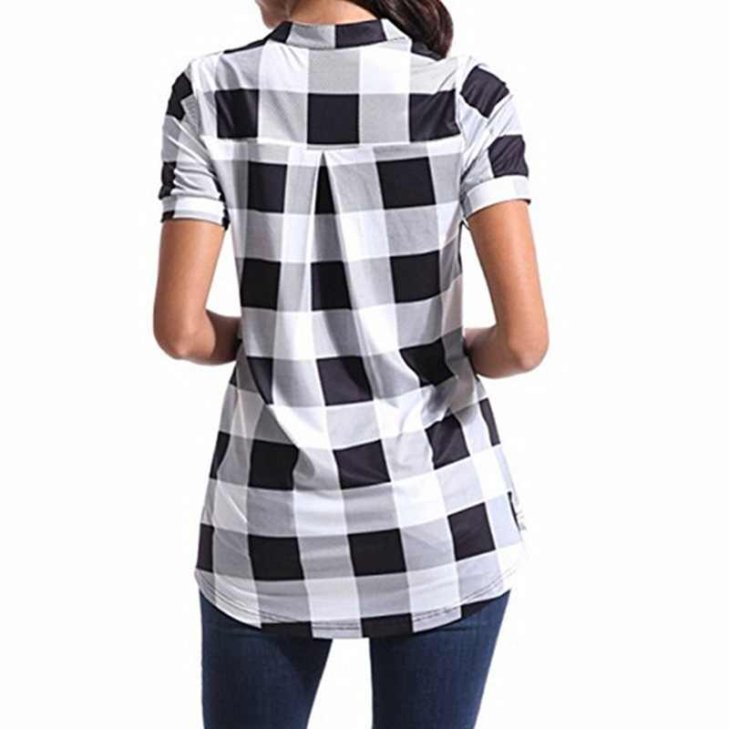 2a64b4ec ... 2018 Summer Blouse Elegant Women V Neck Short Sleeve Plaid Checked Shirt  Casual Office Work Shirt ...