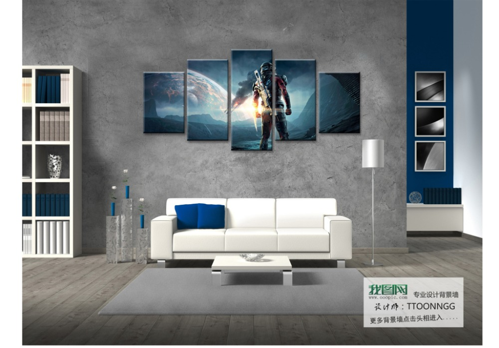 Cheap Modern Paintings Video Game Mass Effect Andromeda Large Wallpaper High Definition Canvas Print 5 Art Kids Room Wal In Painting Calligraphy
