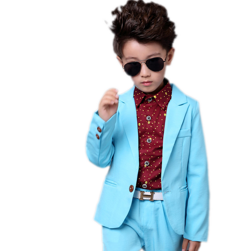boys blazer suits 2018 kids clothes solid turn down collar single button blazer jackets+pants 2pcs suit sets boys formal dress