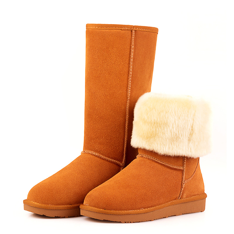 2017 Women Fur Snow Boots Genuine Cowhide Leather Mid-calf Boots Classic Warm Plush Winter Boots Woman Shoes Girl Outdoor Botas prova perfetto winter women warm snow boots buckle straps genuine leather round toe low heel fur boots mid calf botas mujer