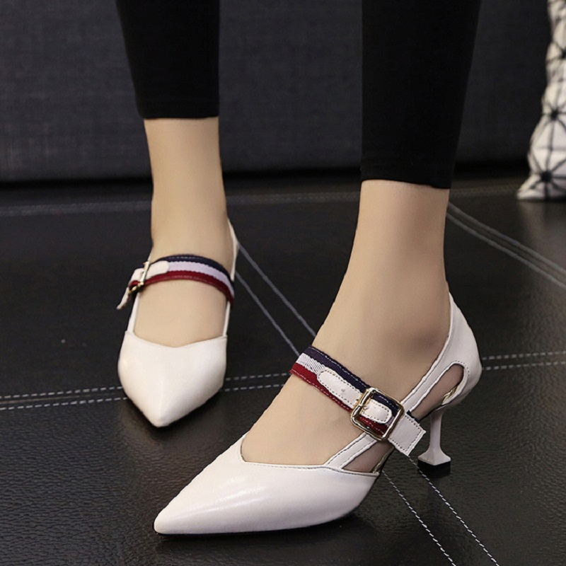 2018 summer Korean version of the new pointed high heels fashion shallow mouth wild high heel women's sandals.