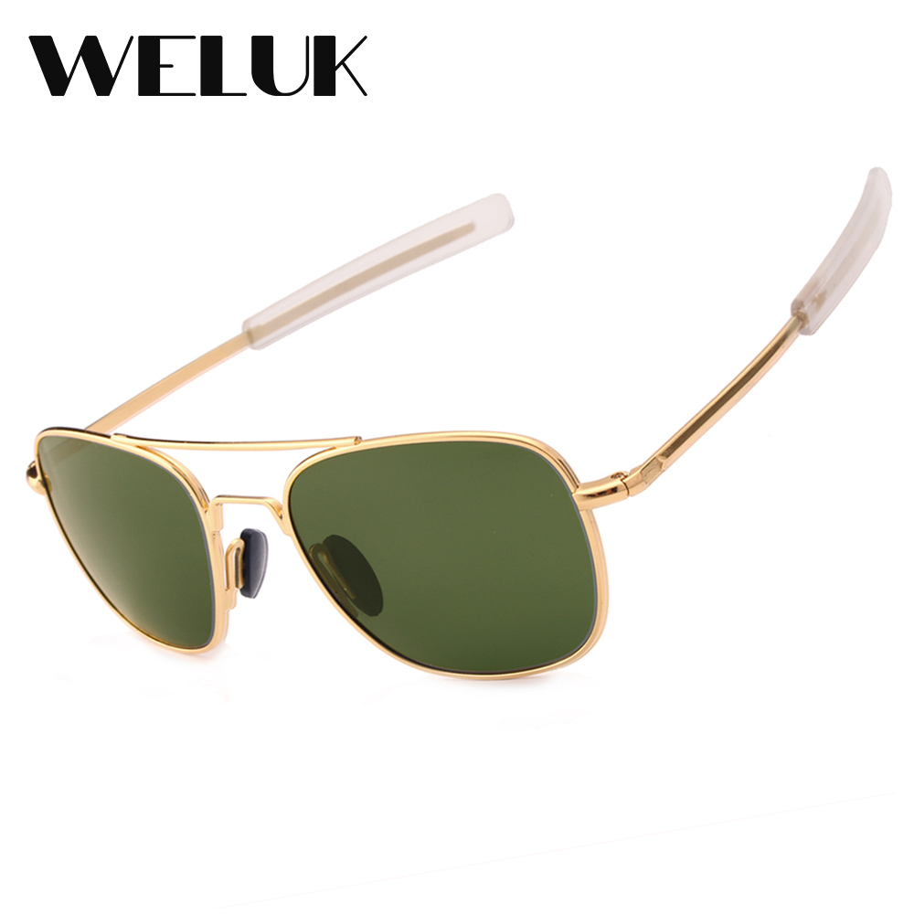 2018 New Fashion Army Military Ao Pilot Sunglasses Brand American Optical Glass Lens Sun Glasses Oculos De Sol Masculino Men's Glasses