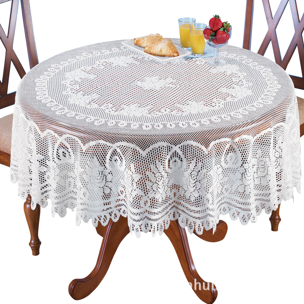 Table Cloth Knitted Lace White Rose Round Table