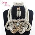 2017 Novo Creme Bonito Contas de Cristal Partido colar mulheres Encantos E1171 Nigerianos Casamento Beads Africanos Jóias Set Frete Grátis