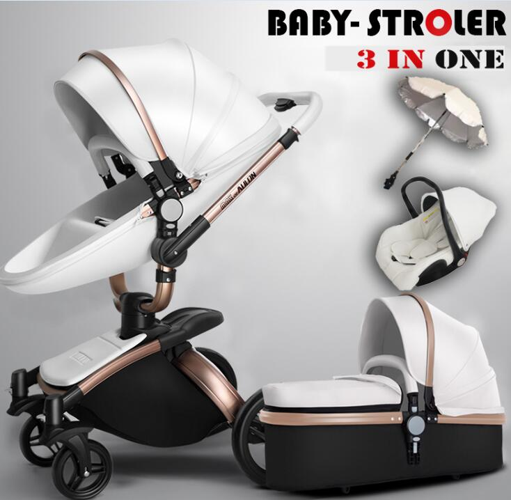 Free Shipping Luxury Baby <font><b>Stroller</b></font> 3 in 1 Fashion Carriage European Pram Suit for Lying and Seat