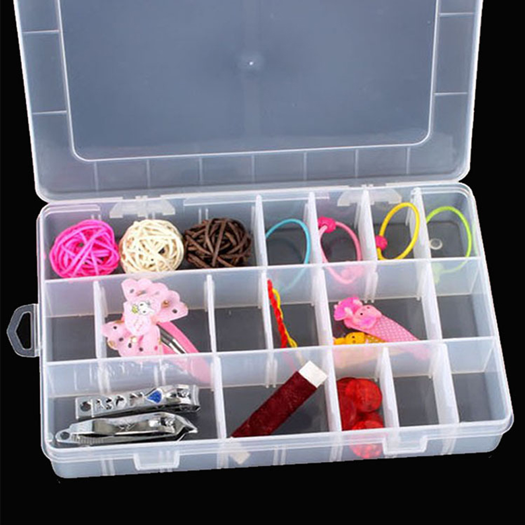multi function Hard Plastic 24 Slots Adjustable Jewelry Storage Box