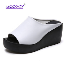 все цены на 2019 Hot Sale Summer Shoes Women Fashion Leisure shoes women platform wedges Fish Mouth Sandals Thick Bottom flat Slippers онлайн
