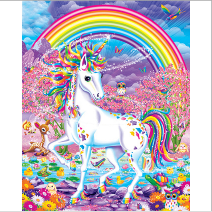 Fairytale wall pictures rainbow unicorn oil paintings by numbers modular pictures painting canvas for child gift living room