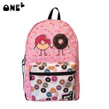 ONE2 Cute backpack for teenage girls with Donut design printing rucksack female backpack women mochila food