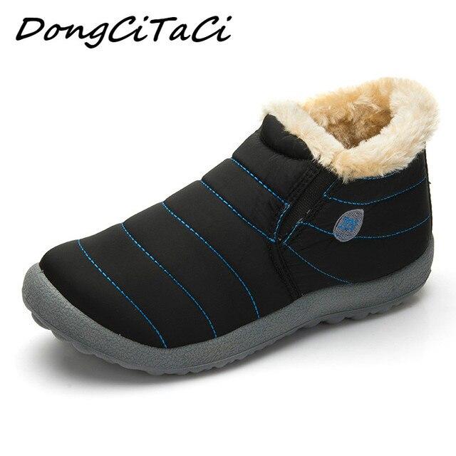 DongCiTaCi Phụ Nữ Không Thấm Nước Mùa Đông Giày Couple Unisex Tuyết Boots Lông Ấm Áp Bên Trong Chống Trượt Phía Dưới Giữ Cho Mẹ Ấm Khởi Động Bình Thường