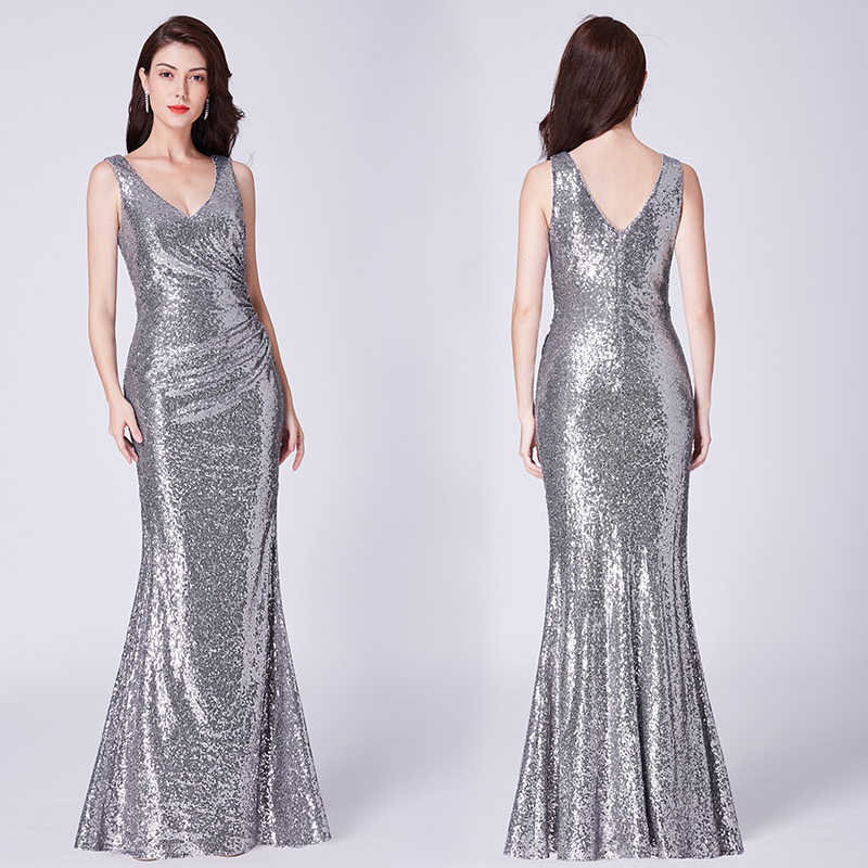 c2401a537 Formal Evening Dresses V Neck Ever Pretty EP07405 Long Silver Rose Gold  Sequin Wedding Guest Party 2018 Maxi Evening Gown Dress-in Evening Dresses  from ...