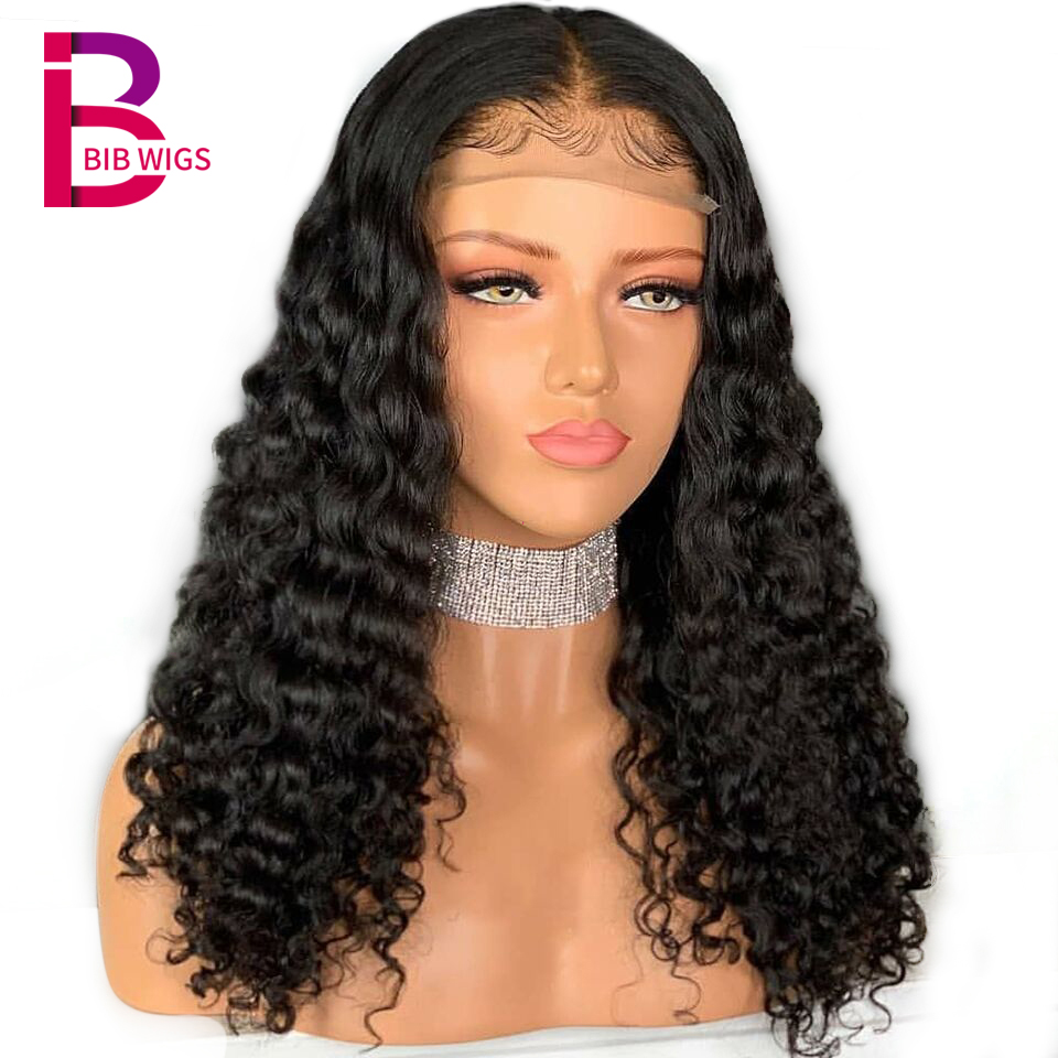 Deep Curly Lace Front Human Hair Wigs For Women Brazilian Remy PrePlucked Human Hair Black Full