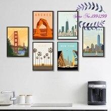 Соединенные Штаты Майами Чикаго Нью-Йорк Сиэтл путешествия Американский плакат Холст Картина из 5 частей