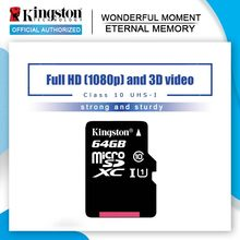 Kingston-carte Micro SD, 8 go/16 go/32 go/64 go/128 go, classe 10, SDHC/SDXC, TF, carte mémoire