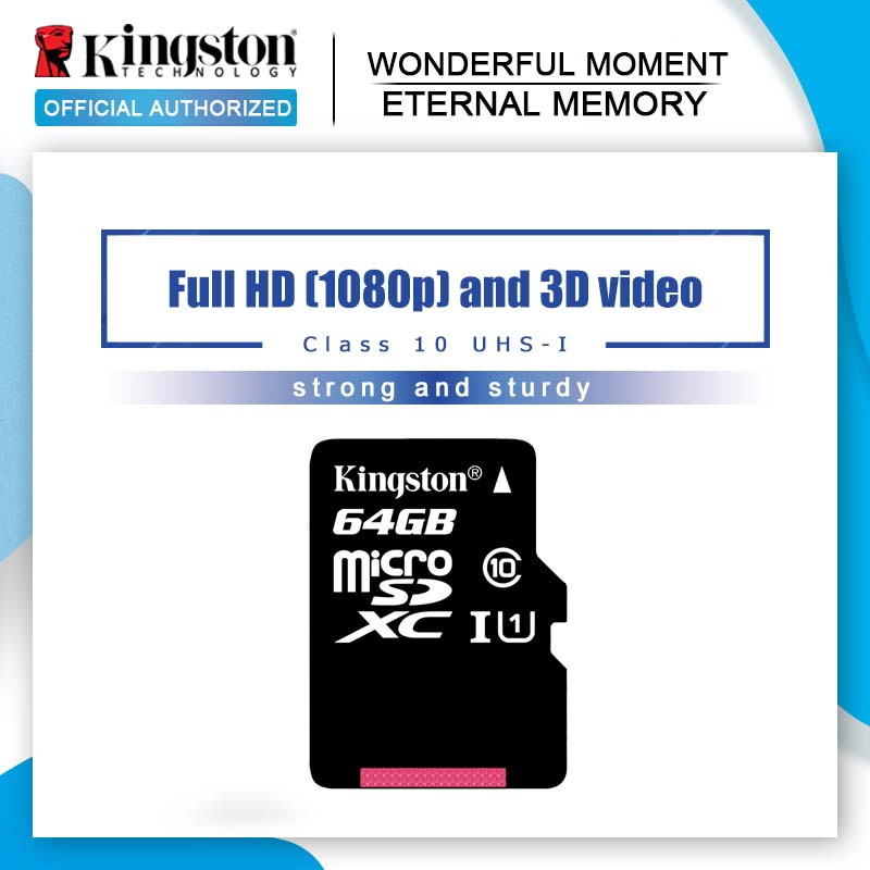 بطاقة ميكرو SD من كينجستون 10 بسعة 16 جيجابايت 32 جيجابايت 64 جيجابايت 128 جيجابايت 8 جيجابايت بطاقة ذاكرة C10 بطاقة SD صغيرة C4 8 جيجابايت SDHC SDXC TF بطاقة للهواتف الذكية