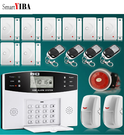 SmartYIBA Wireless Wired GSM SMS Home Burglar Security Alarm System Russian Spanish French Italian Voice Door Window Sensor forecum 433mhz wireless magnetic door window sensor alarm detector for rolling door and roller shutter home burglar alarm system