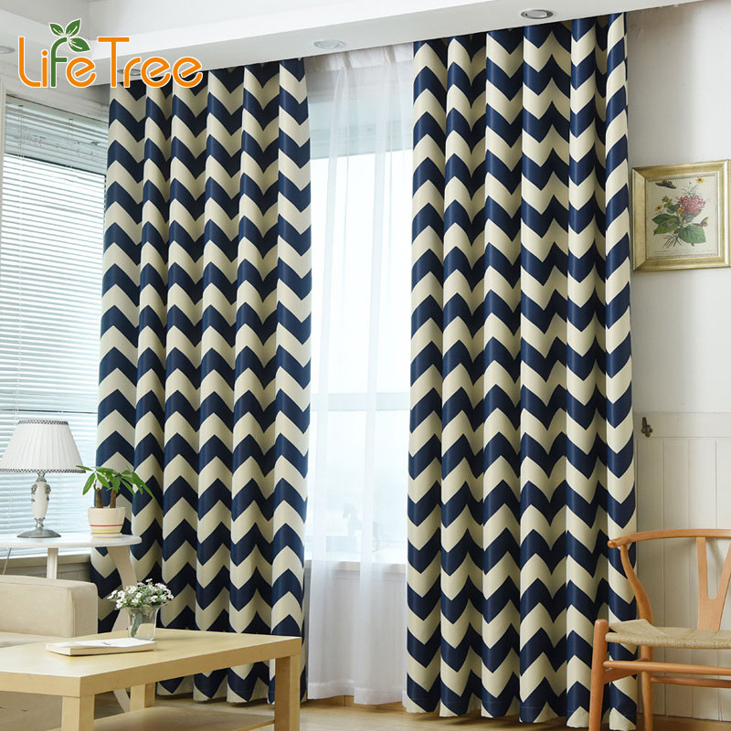 Waves Printed Modern Blackout Curtains For Living Room Mediterranean Blue  Navy Yellow Bedroom Window Drapes Custom