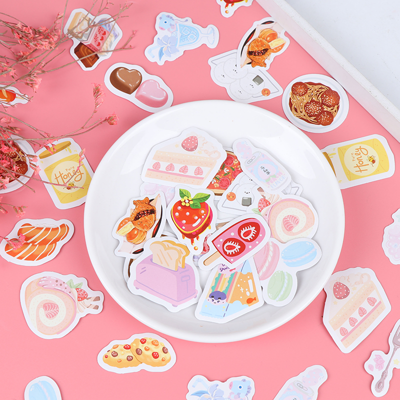 46pcs/box DIY Diary Album Sticker Label Delicious Food DIY Diary Stickers Paper Labels Gifts Packaging Decor(China)