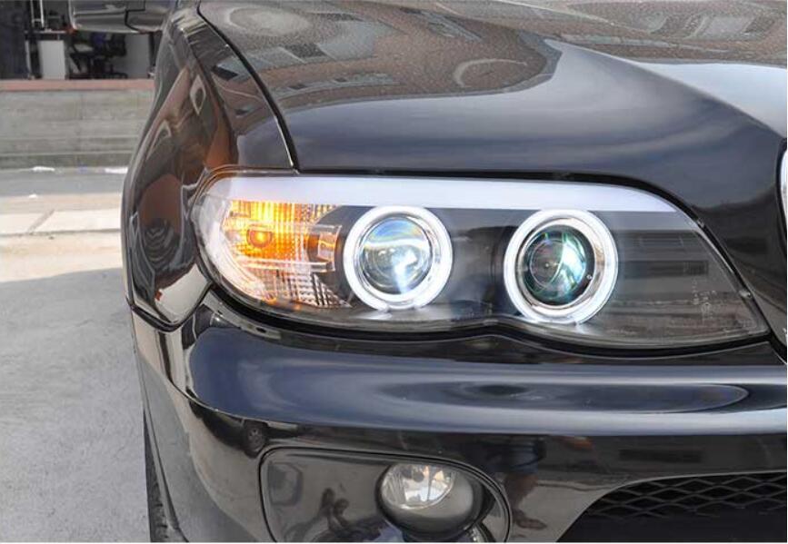 2pcs Car Styling for X5 e53 2004~2006 Headlight for X5 Head Lamp Auto LED DRL hi/lo Beam HID Xenon bi xenon lens