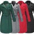 Бесплатная доставка 2015 новых женщин шерстяное пальто мода стройное длинное пальто Большой размер отложным воротником двубортный зимнее пальто W081