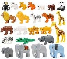 2016 duplo mini figures duplo house farm building blocks dinosaur compatible original duplo animal diy Model