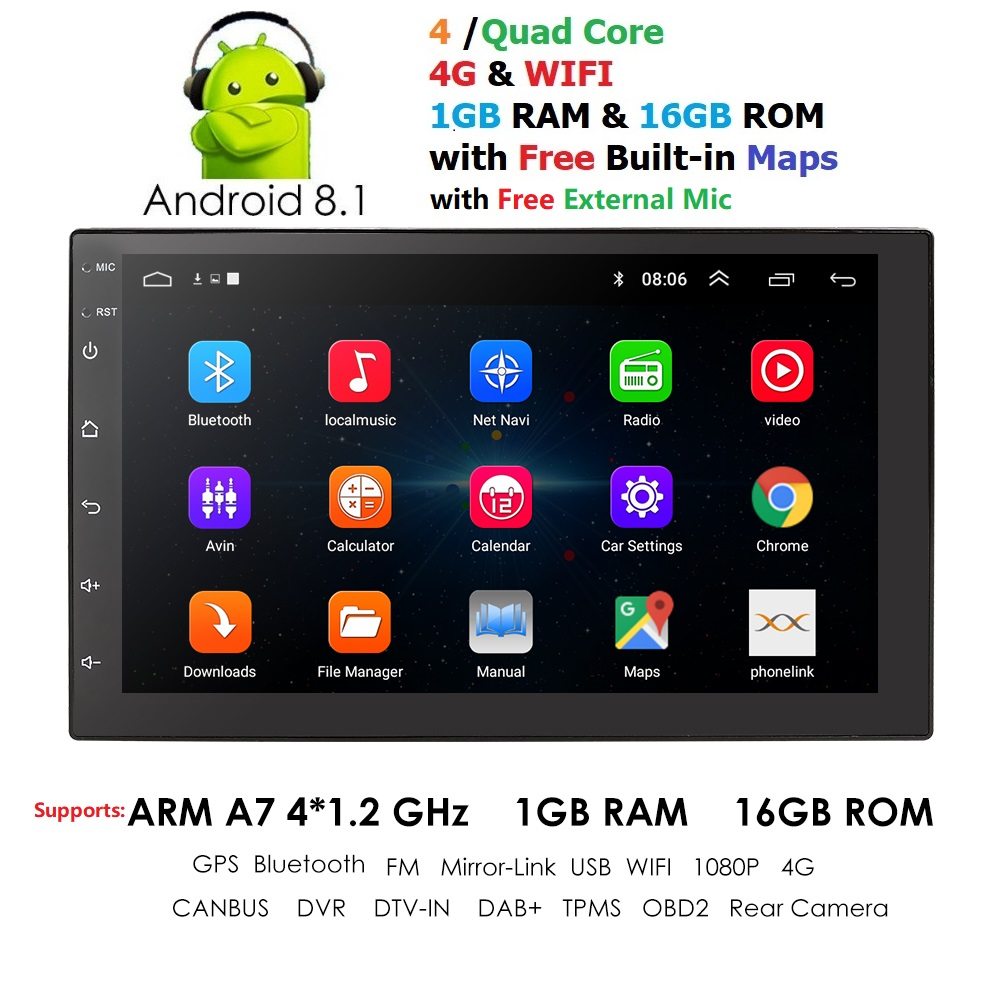 2 Din autoradio Android 8.1 universel 7 pouces écran tactile voiture Audio stéréo Bluetooth FM USB voiture multimédia MP5 micro DAB + DVR