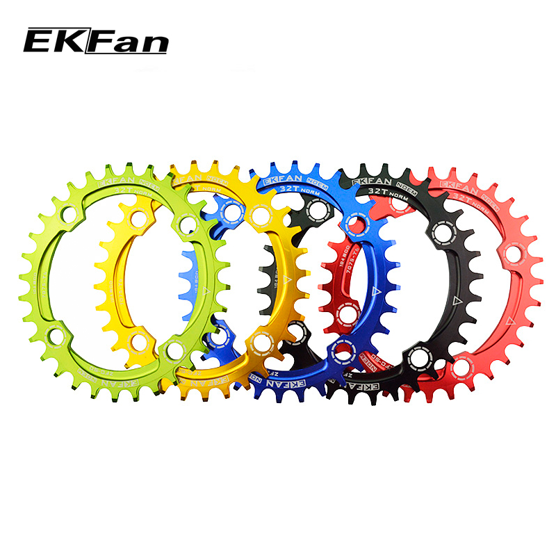 New EKFan 104BCD Bicycle Chainring 32T/34T/36T  Round Oval Cycle Chainwheel 7075-T6 MTB Bike Circle Crankset Plate