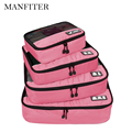 MANFITER Travel Bag 4 Pcs/Set Packing Cube Waterproof Clothes Travel Bags Cosmetic Makeup Toiletry Case Wash Pouch Bag